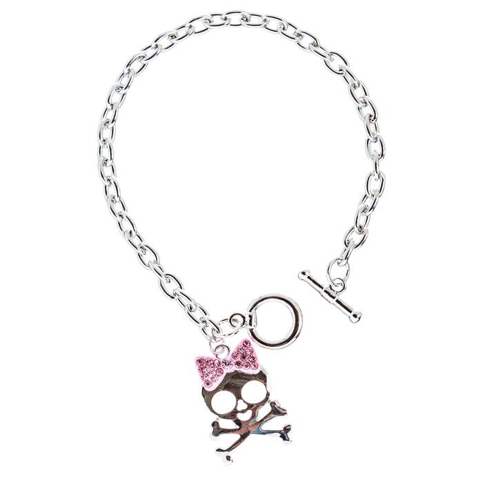 Halloween Costume Jewelry Crystal Rhinestone Charming Skull Bracelet B406 Pink