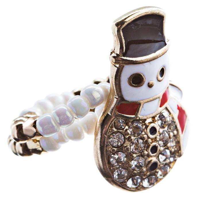 Christmas Jewelry Rhinestone Cute Snowman Charm Stretch Fashion Ring Gold R189