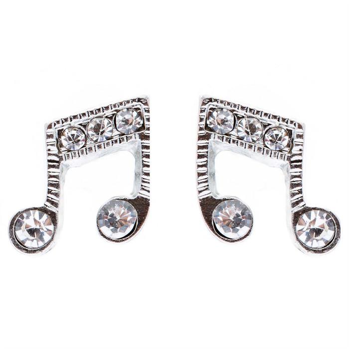 Music Note Charm Crystal Rhinestone Fashion Stud Style Earrings E473 Silver