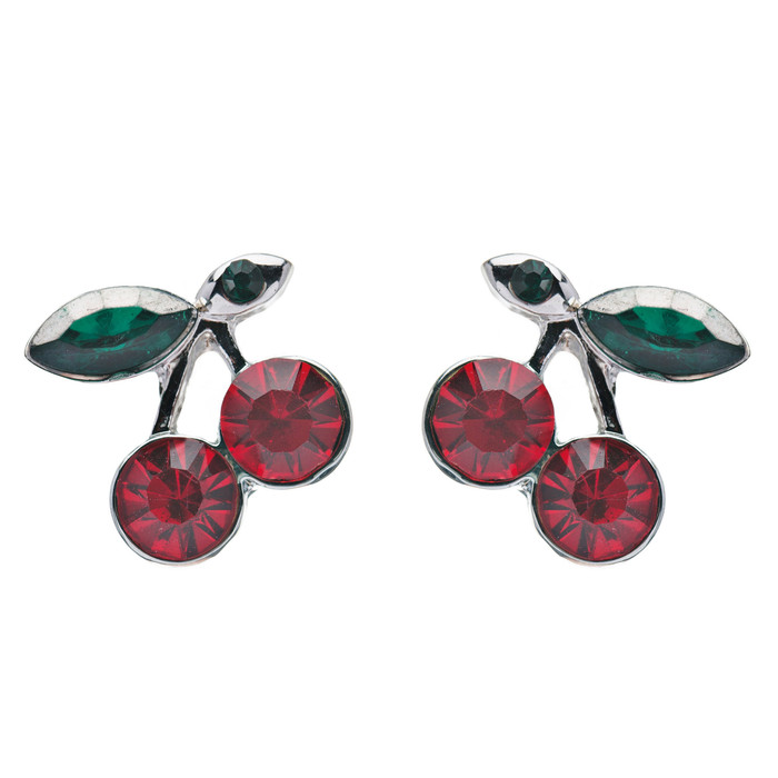Adorable Cute Cherry Fruit Charm Stud Style Rhinestone Fashion Earrings E490