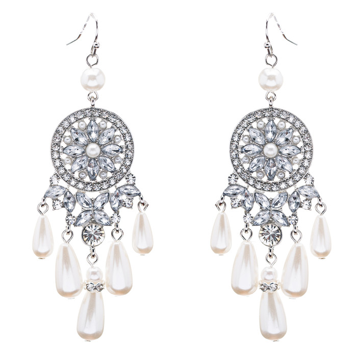 Bridal Wedding Jewelry Set Crystal Rhinestone Pearl Earrings ER00607RDCLWT