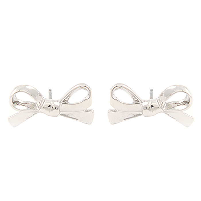 Cute Mini Bow Tie Ribbon Fashion Stud Post Earrings E615 Silver