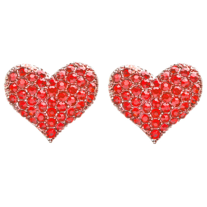 Lovely Sweet Beautiful Heart Shape Valentine's Stud Post Earrings E679 Red
