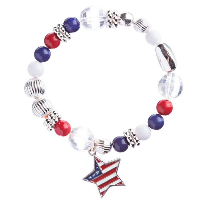 Patriotic American Flag Star Charm Bead Stretch Fashion Bracelet B365 Multi