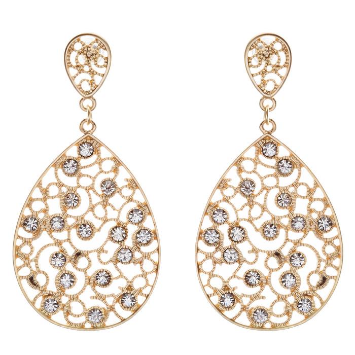 Dazzling Swirl Pattern Crystal Rhinestone Bridal Prom Fashion Earrings E314 Gold