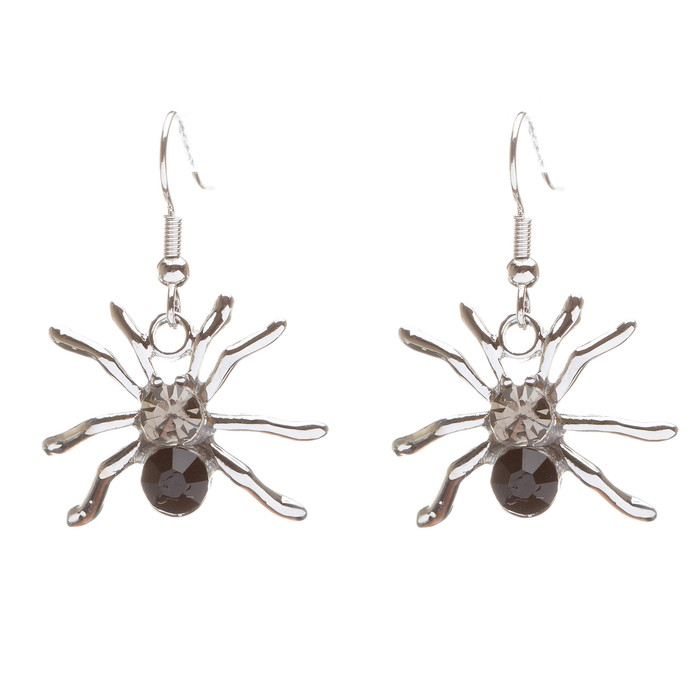 Halloween Costume Jewelry Crystal Rhinestone Spider Dangle Earrings E677 Black