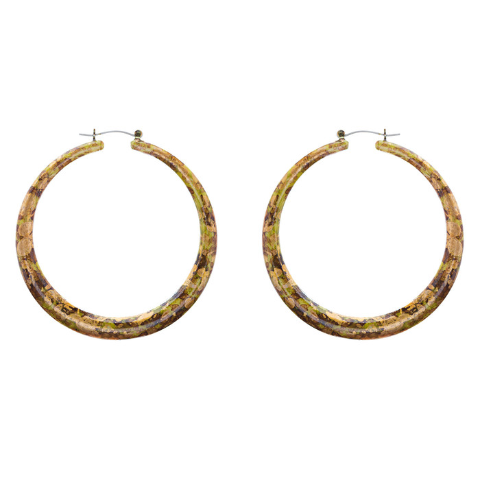 Fashion Hoop Earrings Painted Lucite Green