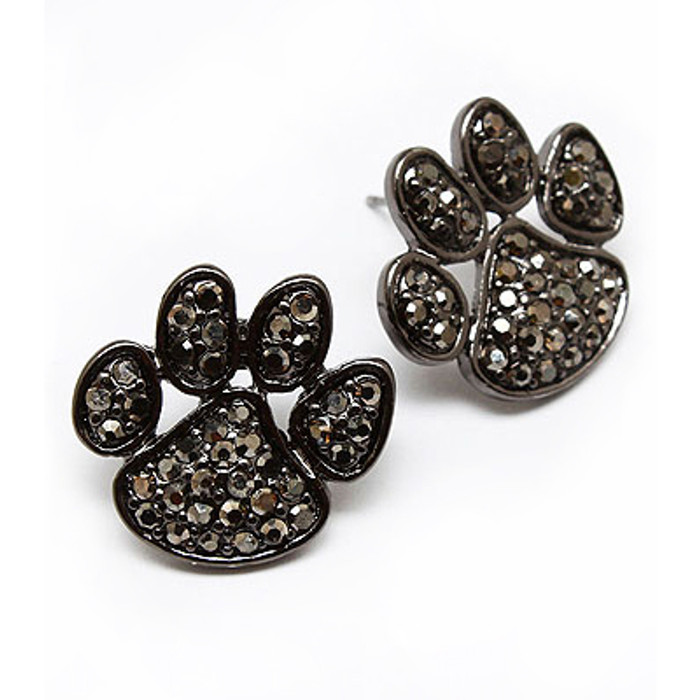 Puppy Paw Crystal Pave Fashion Stud Earrings Black