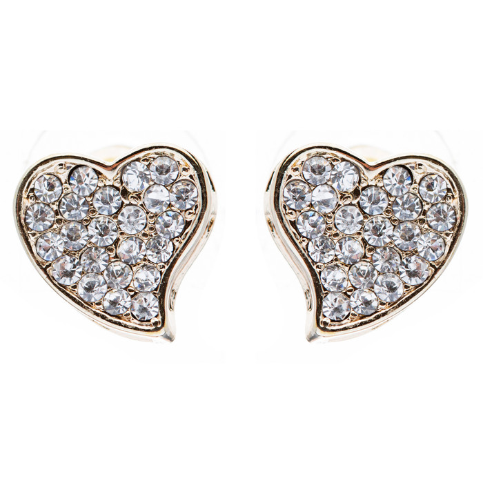 Heart Crystal Pave Fashion Stud Earrings Gold