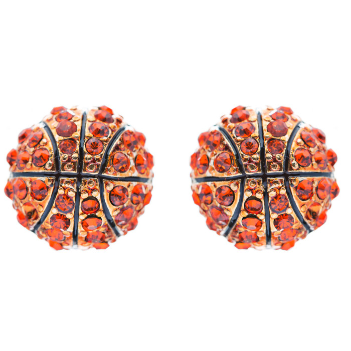 Sport Basketball Crystal Rhinestone 14mm Drop Stud Fashion Earrings Gold Orange