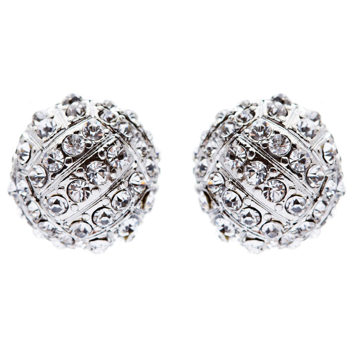 Sport Volleyball Crystal Rhinestone 14mm Drop Stud Fashion Earrings Silver Clear
