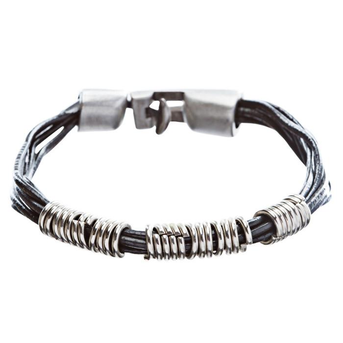 6-Strand Pewter T Clip Clasp Leather Bracelet Black