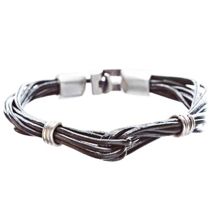 8-Strand Pewter T Clip Clasp Leather Bracelet Black