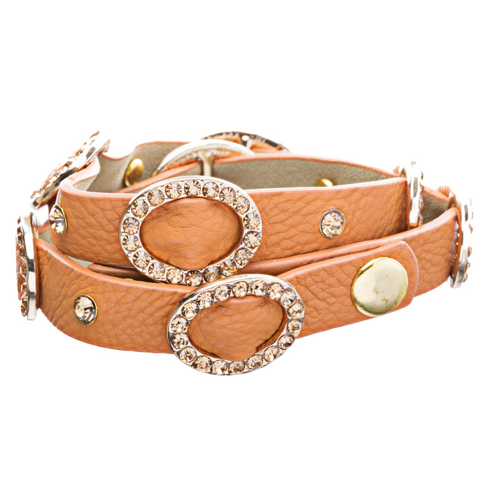 Chic Crystal Buckle Design Button Leatherette Fashion Wrap Bracelet Gold Orange
