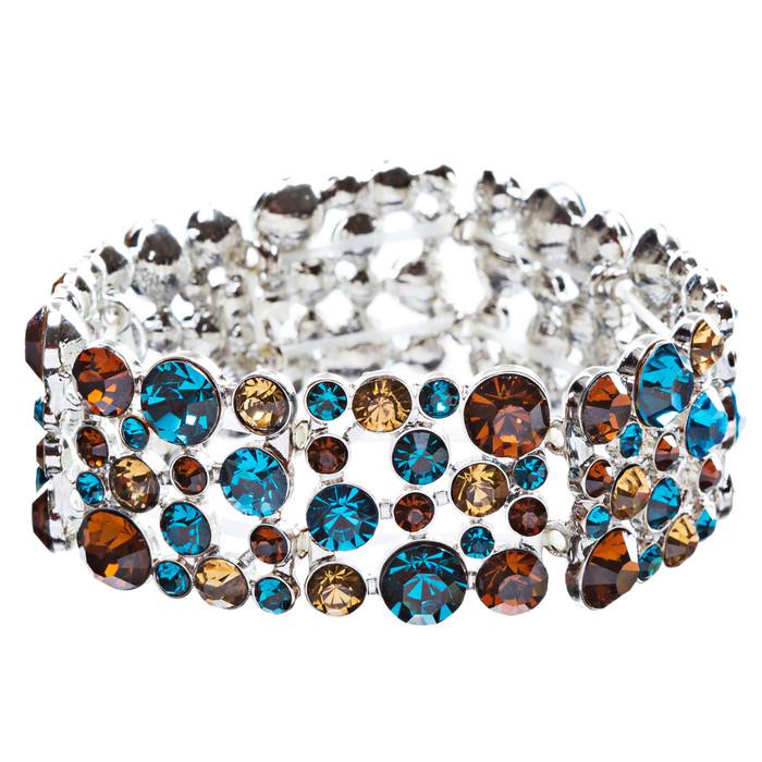 Bridal Bracelet Crystal Rhinestone Pearl White BR00295-MT