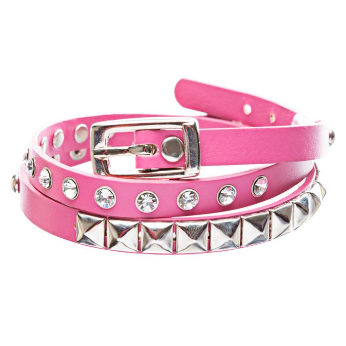 Fuchsia 3-Effect Stud Italian Calf Leather Wrap Bracelet