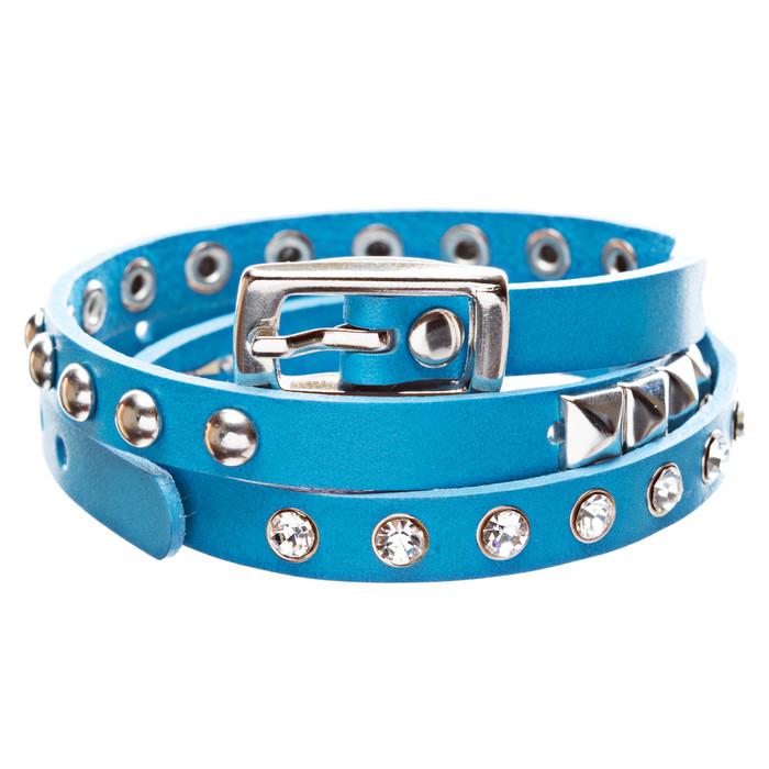 Blue 3-Effect Stud Italian Calf Leather Wrap Bracelet
