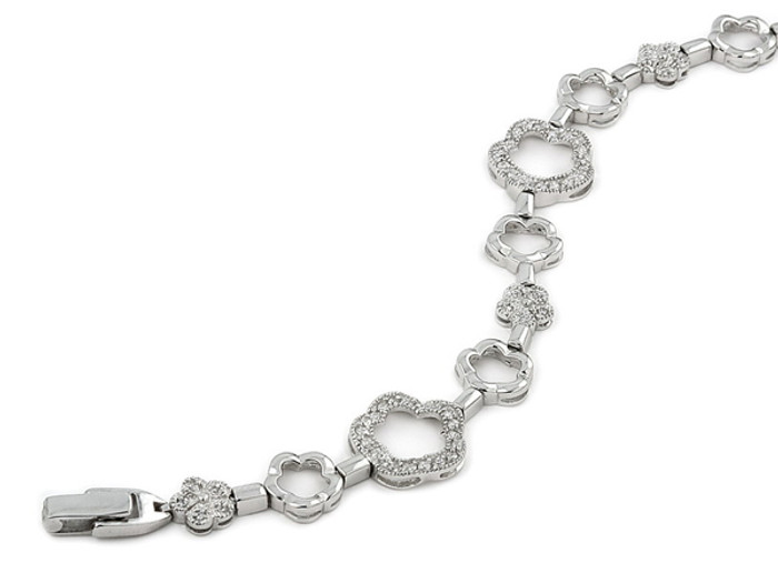 "Plain CZ Flower 7"" Bracelet 925 Sterling Silver"