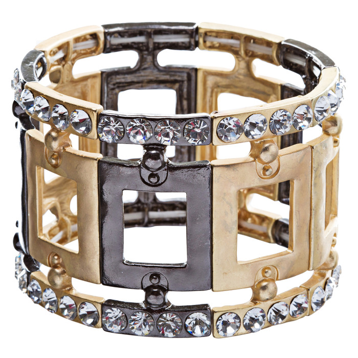 Fashion Square Linked Crystal Stretch Bracelet Gold