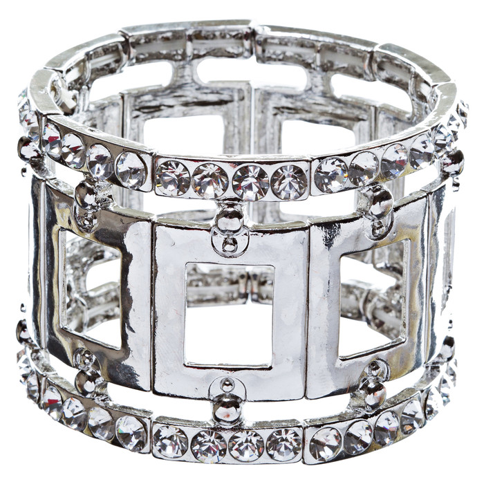 Fashion Square Linked Crystal Stretch Bracelet Silver