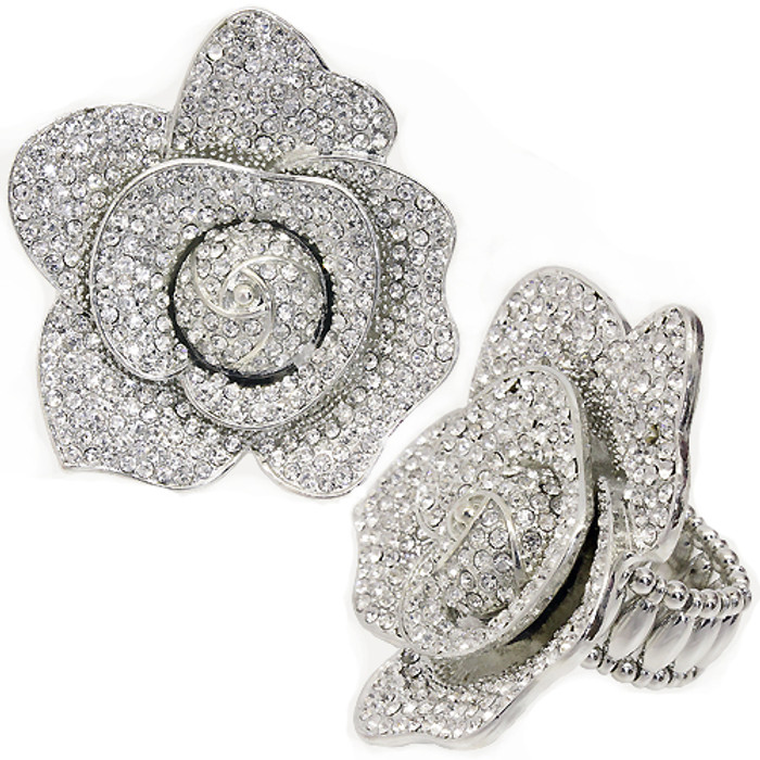 Crystal Pave Big Rose Stretch Fashion Ring Clear