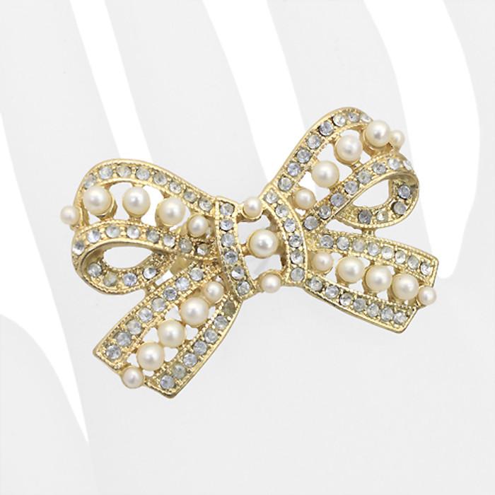 Beautiful Fashion Bow Ribbon Stretch Ring Gold