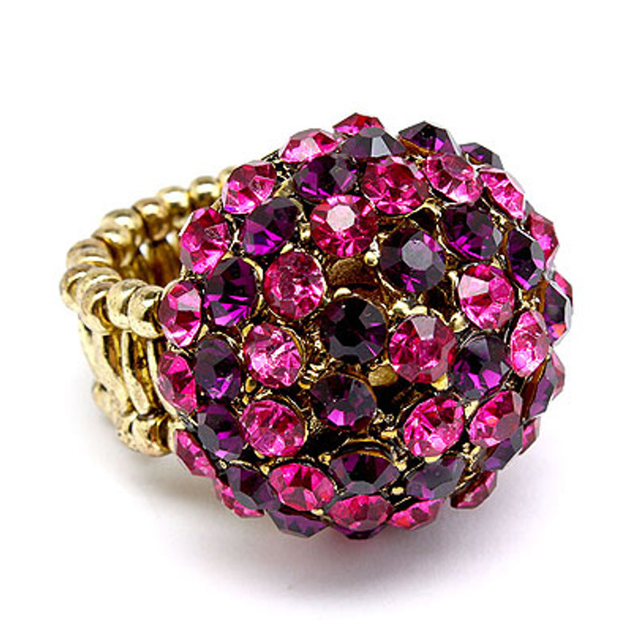 Duo Tone Dome Round Crystal Pave Stretch Ring Pink