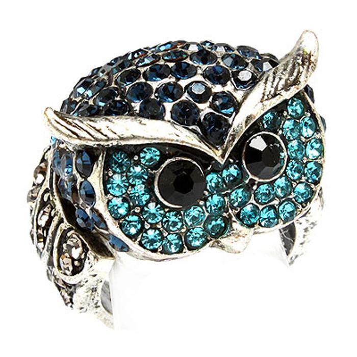 Owl Animal 3D Crystal Rhinestone Stretch Ring Blue