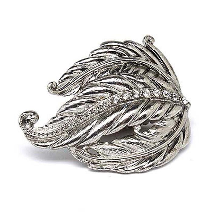 Leaf Design Nature Crystal Fashion Stretch Ring Silver