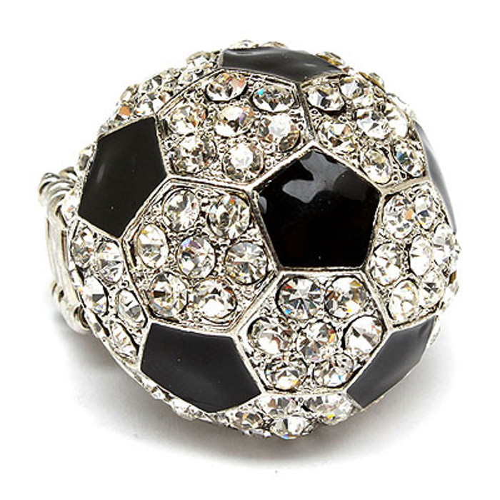 Sport Soccer Crystal Rhinestone Stretch Ring Clear