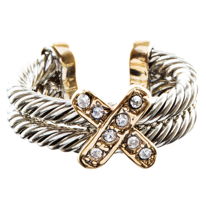 Duo Tone X Design Double Cable Fashion Ring Gold Silver