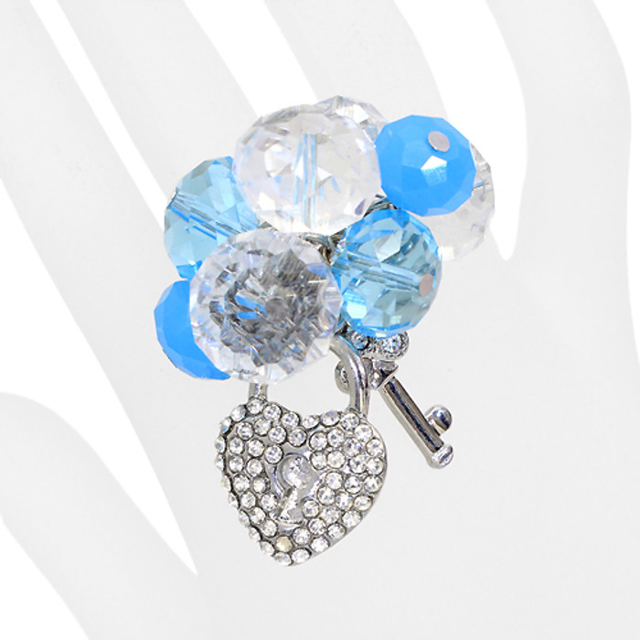 Crystal Cluster Pave Heart Key Stretch Ring Silver Blue