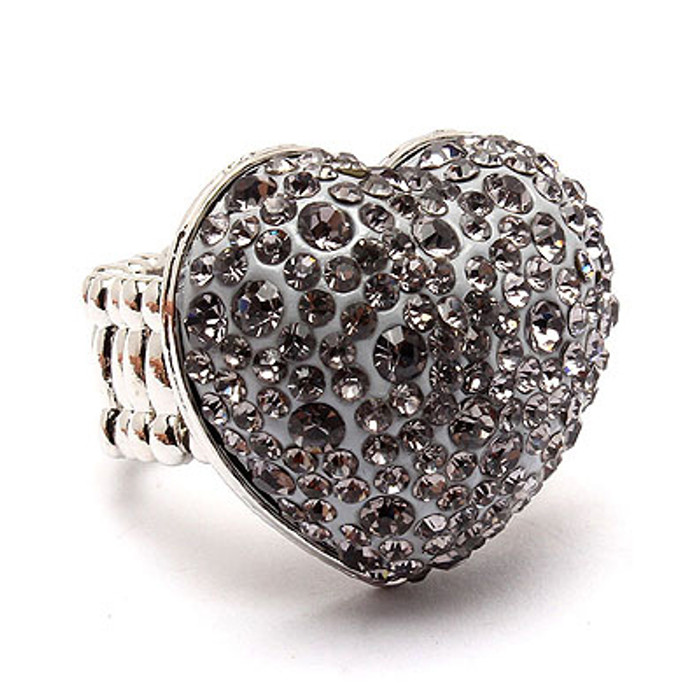 Bubbly Crystal Rhinestone Heart Stretch Adjustable Ring Valentine Silver Gray