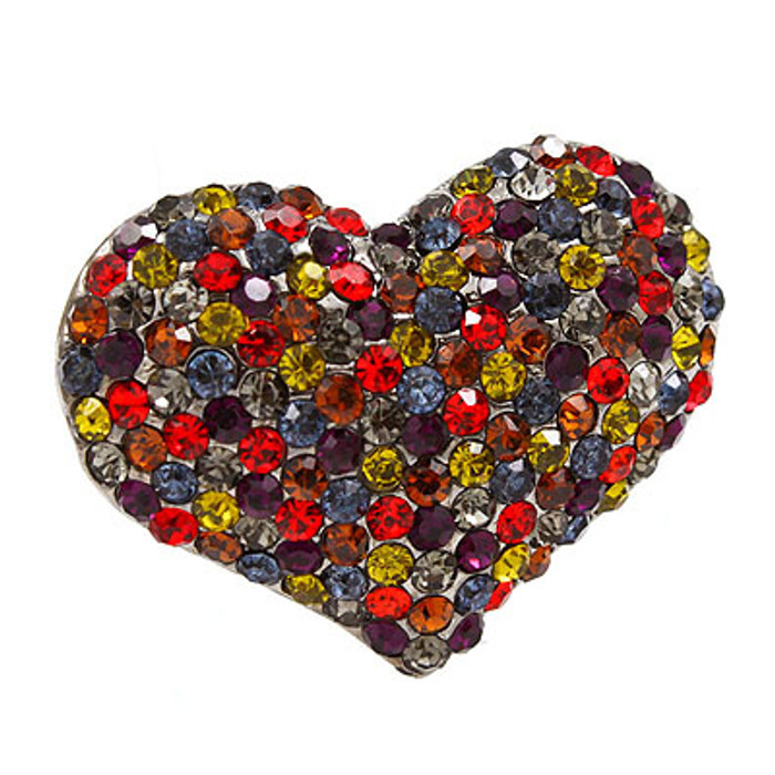Crystal Pave Beautiful Heart Stretch Adjustable Ring Valentine Hematite Multi