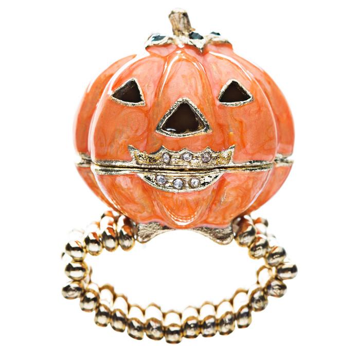Halloween Jewelry Locket Pumpkin Stretch Ring Orange
