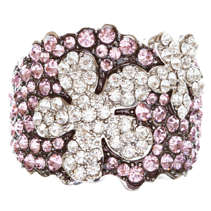 Beautiful Flower Crystal Rhinestone Stretch Adjustable Cocktail Ring Silver Pink