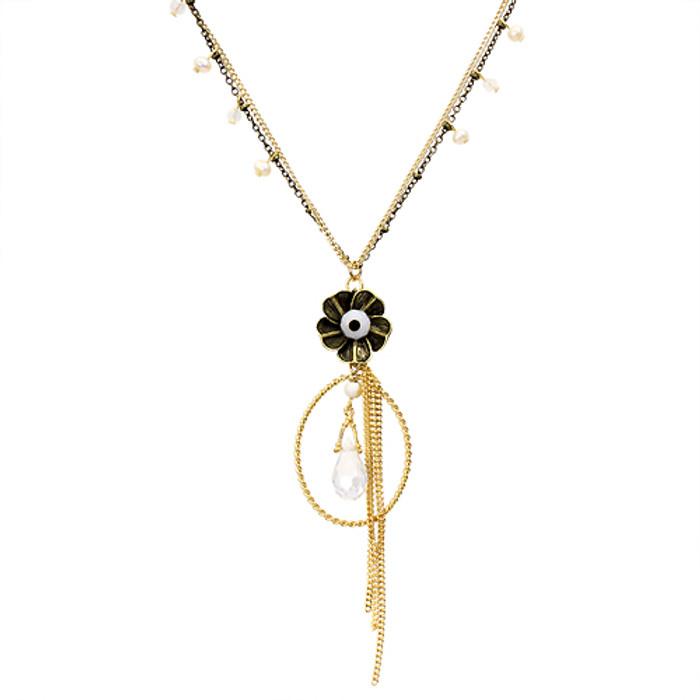Semiprecious Flower & Chain Tear Drop Necklace Black