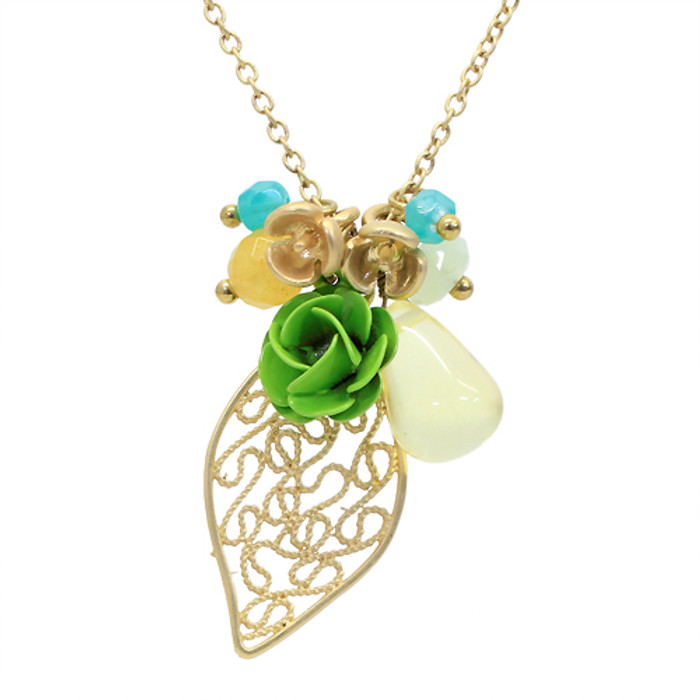 Floral Charm Tear Drop Crystal Handmade Necklace Green