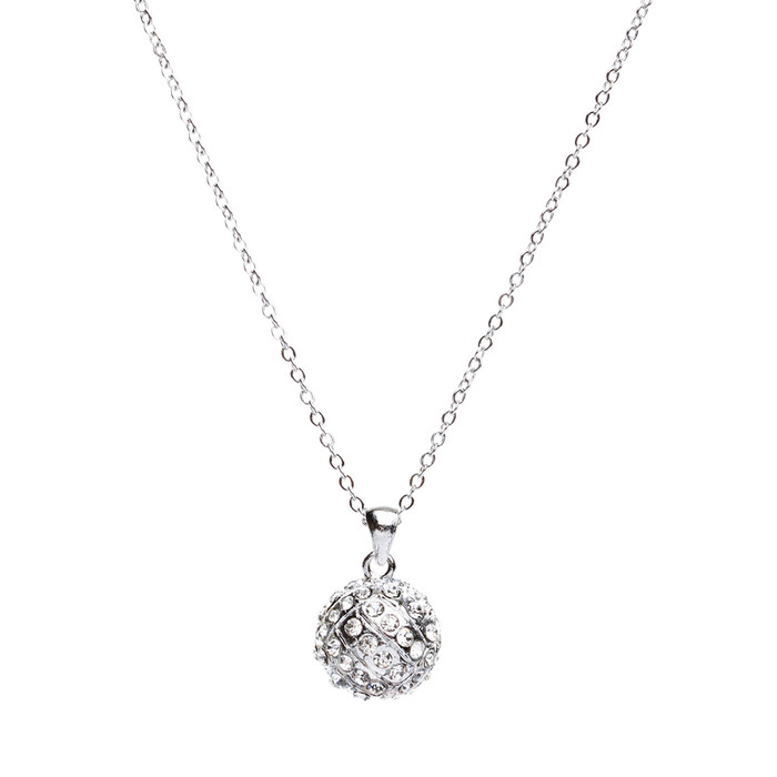 "Sport Volleyball Crystal Rhinestone 14mm 18"" Long Fashion Necklace Silver Clear"