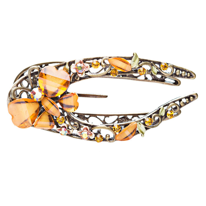 Austrian Crystal Woman Hair Pin Clip Floral Yellow NEW