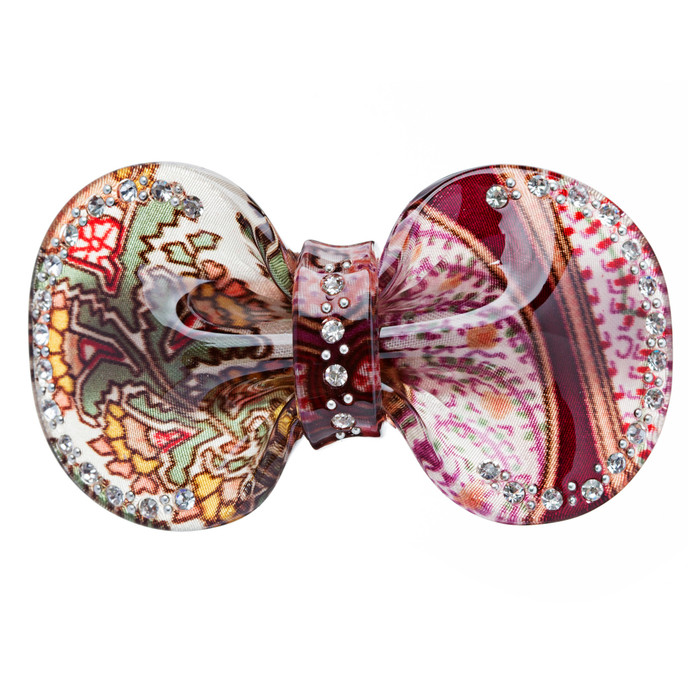 Woman Hair Barrette Clip Floral Ribbon Brown NEW
