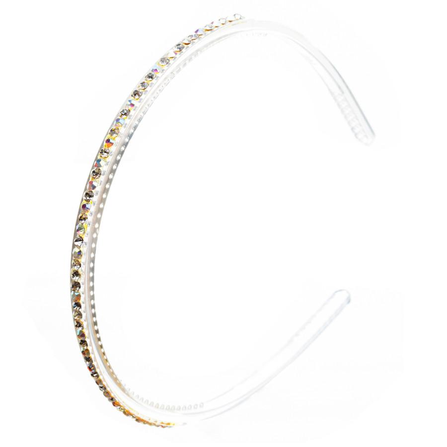 Fashion Sparkle Crystal Rhinestone Simple Linear Teeth Headband Clear