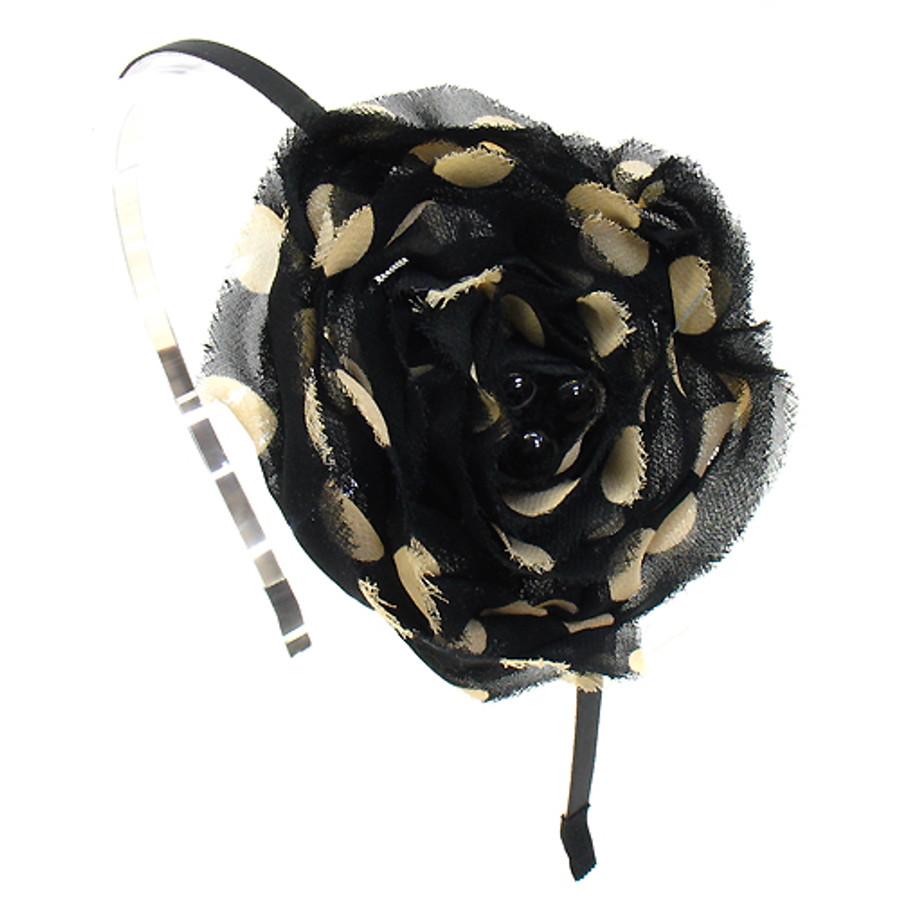 Sequin Beads Accented Polka Dot Flower Black Headband