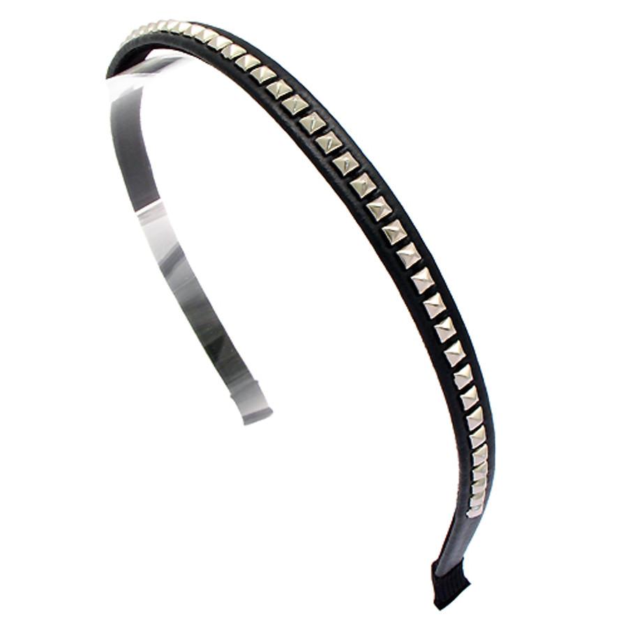 Square Silver Studded Leatherette Black Headband
