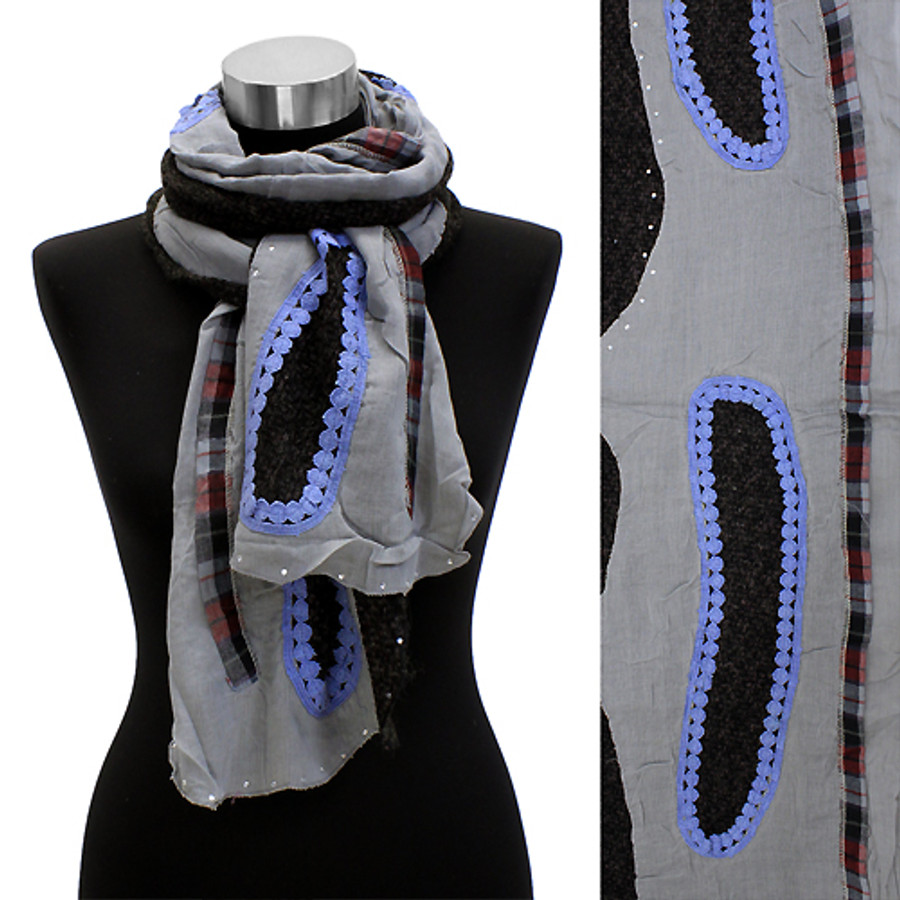 Bean Motif Hand Crafted Fashion Design Scarf Blue Gray