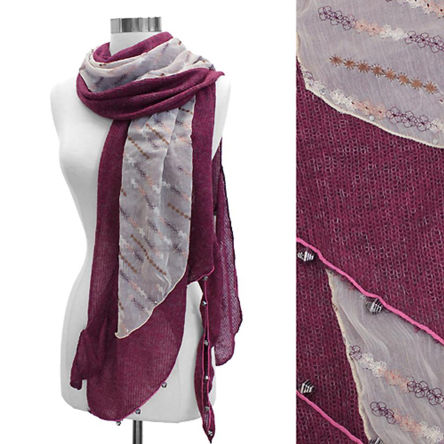 Double Layered Handmade Crafted Fashion Scarf Fuchsia