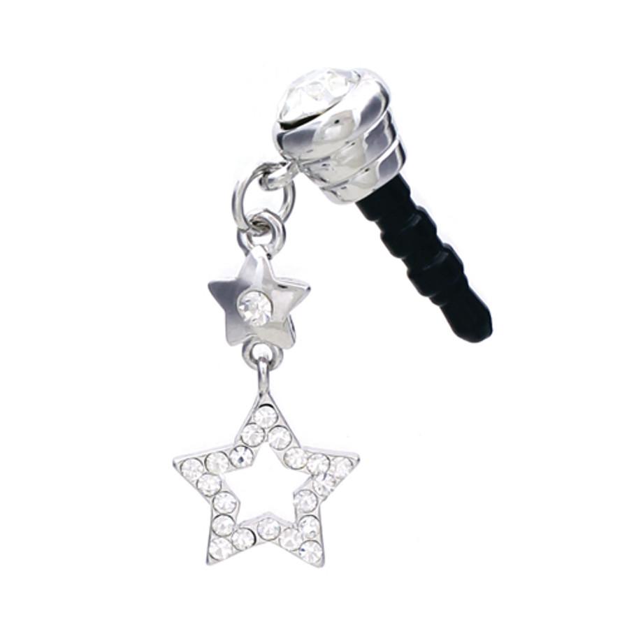 Earphone Dustproof Plug Stopper Phone Ear Cap Crystal Rhinestone Star Silver