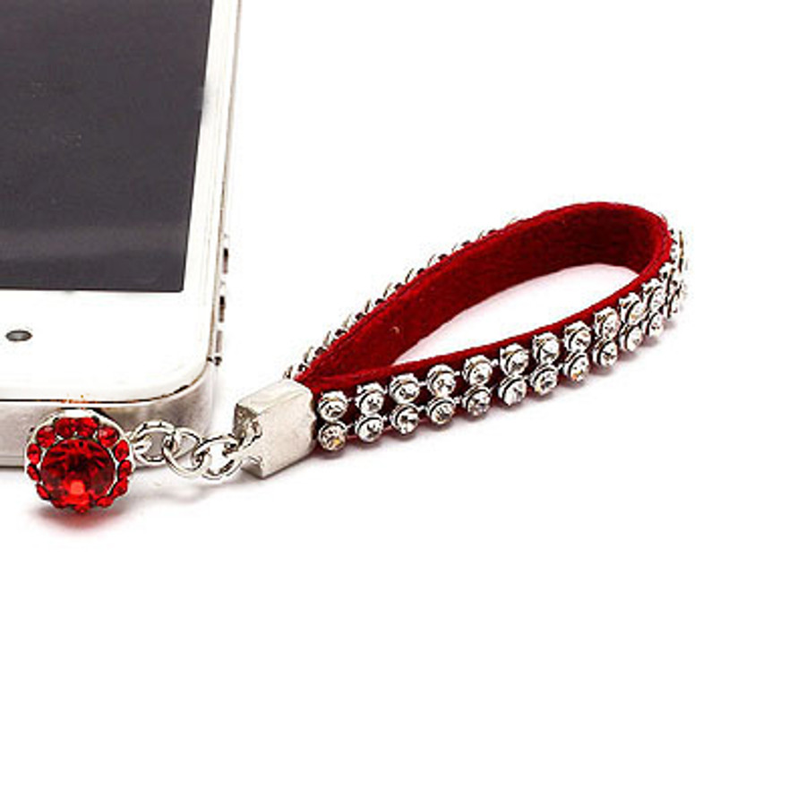 Earphone Dustproof Plug Stopper Phone Ear Cap Crystal Strap Design Clear Red