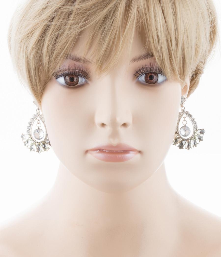Bridal Wedding Jewelry Crystal Navette Dangle Earrings