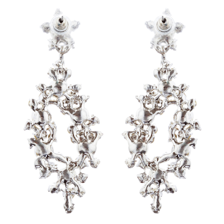 Bridal Wedding Jewelry Crystal Rhinestone Pearl Elegant Dangle Earrings Silver